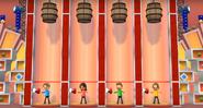 Fumiko, Oscar, and Ursula participating in Barrel Daredevil in Wii Party