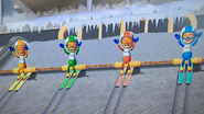 Shinnosuke, Keiko and Greg participating in Jumbo Jump in Wii Party