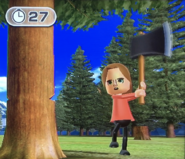 Ursula participating in Timber Topple in Wii Party