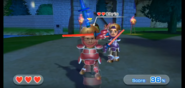 Chris wearing Red Armor in Swordplay Showdown