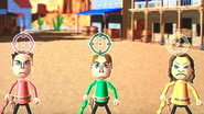 Barbara, Abe and Tomoko participating in Popgun Posse in Wii Party