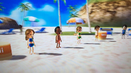Kathrin, Hiroshi, Siobhan and Luca participating in Flag Fracas in Wii Party