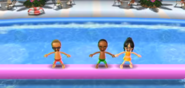 Jake, Eduardo, and Eva participating in Splash Bash in Wii Party