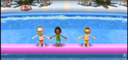 Ian, Maria, and Nick participating in Splash Bash in Wii Party