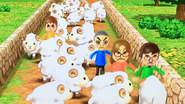 Takashi, Ashley, Luca and Anna participating in Ram Jam in Wii Party
