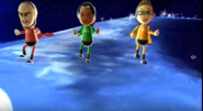 Ian, Maria, and Nick participating in Space Brawl in Wii Party