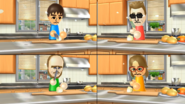 Steve, Ian, and Ashley participating in Chop Chops in Wii Party