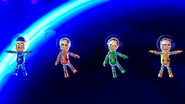 Abe, Yoshi and Barbara participating in Moon Landing in Wii Party