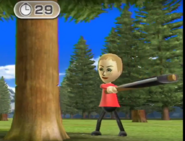 Jessie participating in Timber Topple in Wii Party