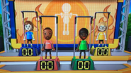 Pierre, James, Sarah and Nelly participating in Chin-Up Champ in Wii Party