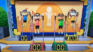 Abe, Greg and Emliy participating in Chin-Up Champ in Wii Party