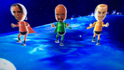 George, Matt and Tyrone partcipating in Space Brawl in Wii Party