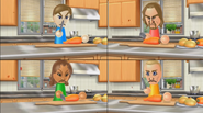 Ryan, Naomi, and Fritz participating in Chop Chops in Wii Party