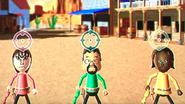 Susana, Kentaro and Sandra participating in Popgun Posse in Wii Party