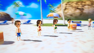 Michael, Tomoko, Helen and Shouta participating in Flag Fracas in Wii Party