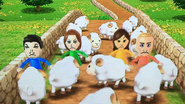 Pablo, Fritz, Elisa and Fumiko participating in Ram Jam in Wii Party