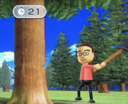 Shohei participating in Timber Topple in Wii Party