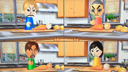 Julie, Takashi, Gabriele and Misaki participating in Chop Chops in Wii Party
