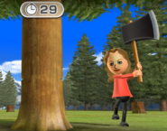 Kathrin participating in Timber Topple in Wii Party