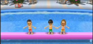 Shinta, Ren, and Ryan participating in Splash Bash in Wii Party