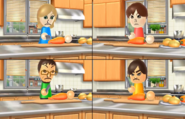 Emily, Daisuke, and Hiromi participating in Chop Chops in Wii Party