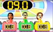 Maria, Shouta, and Helen participating in Stop Watchers in Wii Party