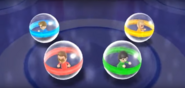 Cole, Misaki, and Fritz participating in Crash Balls in Wii Party