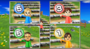 Emily, Daisuke, and Hiromi participating in Strategy Steps in Wii Party