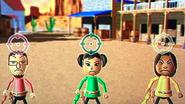 Daisuke, Miyu and Maria participating in Popgun Posse in Wii Party