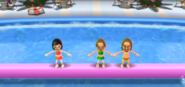 Misaki, Ursula, and Ryan participating in Splash Bash in Wii Party