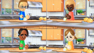 Nick, Stephanie, George and Lucia participating in Chop Chops in Wii Party