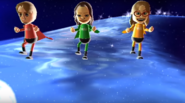 Abe, Tomoko, and Ashley participating in Space Brawl in Wii Party