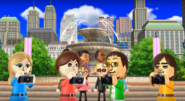 Emily, Daisuke, and Hiromi participating in Smile Snap in Wii Party