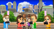 Fumiko, Oscar, and Ursula participating in Smile Snap in Wii Party