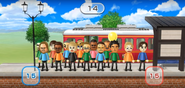 Ryan, Takashi, Silke, Nick, Tommy, Daisuke, Marco, and Julie featured in Commuter Count in Wii Party