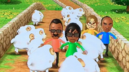 Eduardo, Hiroshi, Ai and Ashley participating in Ram Jam in Wii Party