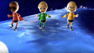 Gwen, Julie, and Nelly participating in Space Brawl in Wii Party
