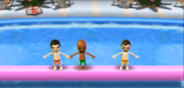 Pablo, Matt, and Hiromasa participating in Splash Bash in Wii Party
