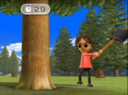 Chika participating in Timber Topple in Wii Party