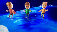 Abe, Anna and Barbara partcipating in Space Brawl in Wii Party