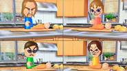 Ryan, Siobhan, Vincenzo and Helen participating in Chop Chops in Wii Party