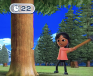 Haru participating in Timber Topple in Wii Party
