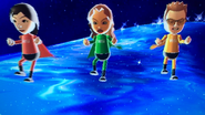 Misaki, Naomi and Cole participating in Space Race in Wii Party