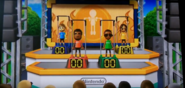 Patrick, Gwen, and Chika participating in Chin-Up Champ in Wii Party