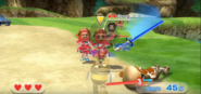 Greg wearing Red Armor in Swordplay Showdown