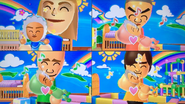 Gabi, Takashi, Fritz and Hiromi participating in Cry Babies in Wii Party
