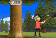 Misaki participating in Timber Topple in Wii Party