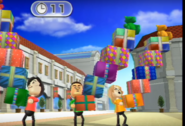 Takumi, Shinta, and Rachel participating in Shifty Gifts in Wii Party