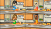 Tyrone, Ashley, and Tommy participating in Chop Chops in Wii Party
