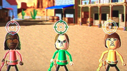 Jackie, Ursula and Mike participating in Popgun Posse in Wii Party